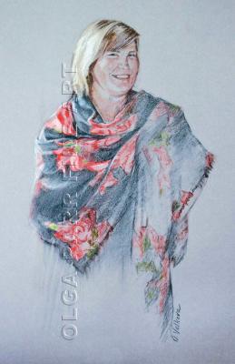 portrait of woman draped in shawl