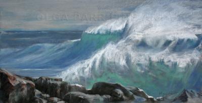 pastel landscape wave and rocks