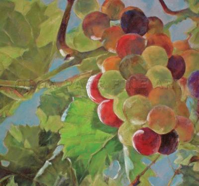 Pastel painting sun lit grapes