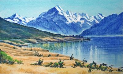 pastel landscape Mt. Cook and lake