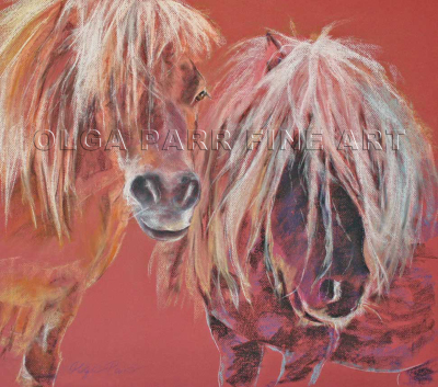 pastel drawing ponies, horses in pastel
