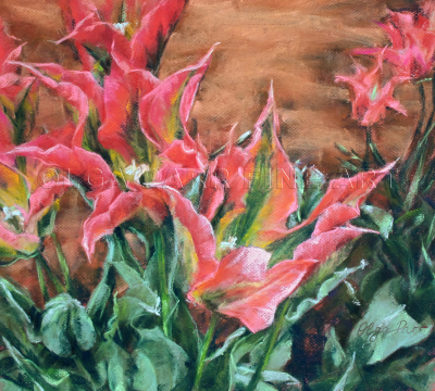 tulip, flower, soft pastel, original art, floral, impressionism, intensive colors