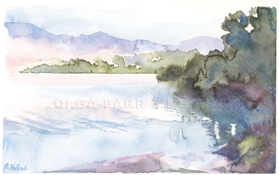 watercolor, morning, fog above lake, water, glowing colors, loose brash strokes, expressionism