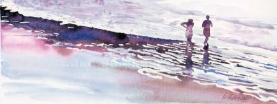 watercolor, bright reflections,  seashore, people, water, impressionism,