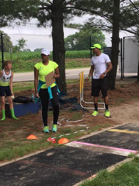 Coaches Brandon and Myesha making sure we measure up with the competition.