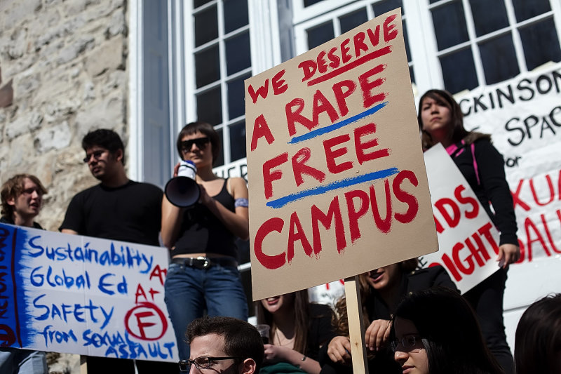 Students rallying against campus sexual assault