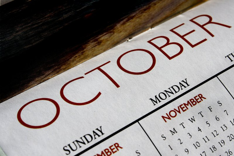 Month of October on Calendar