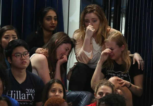 Hillary Clinton supporters upset after 2016 election results.