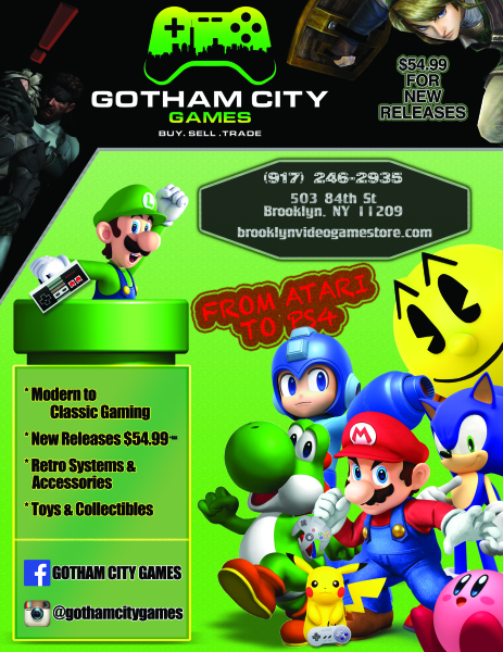 Gotham City Games Advertisement Flyer