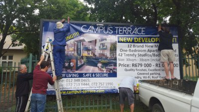 October 2015 : Set up of the CAMPUS TERRACE - banner