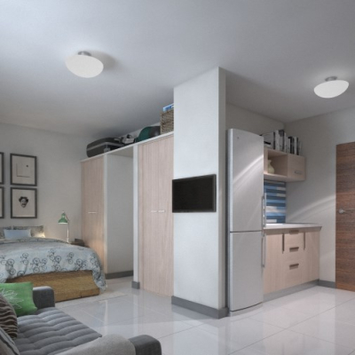 Bachelor/studio unit - lounge/bedroom and kitchen view (furniture and appliances not included)