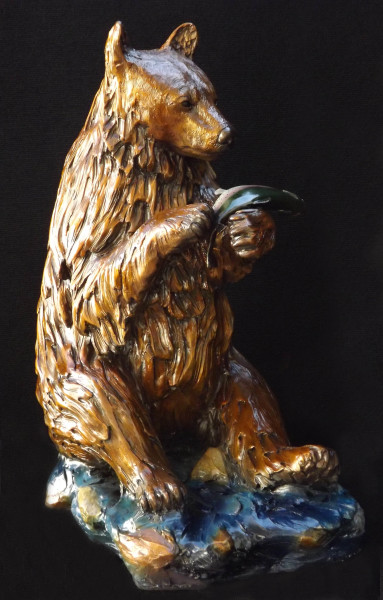 bronze, sculpture, statue, black bear cub, rainbow trout, outdoor sculpture