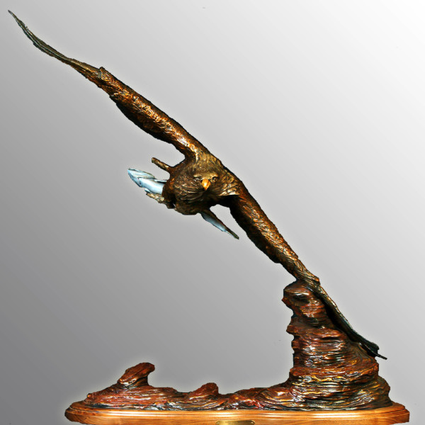 Bronze, Soaring Bald Eagle, outdoor sculpture