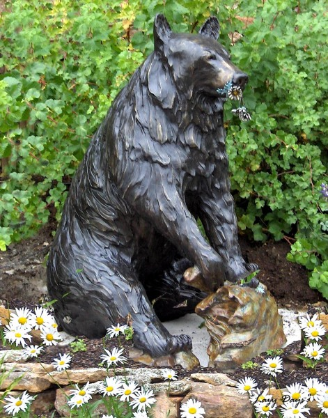 Bronze, Life-Size Black Bear Sow, Sculpture, Outdoor Art