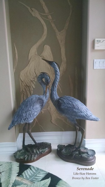 Bronze, Blue Heron, Sculpture, statue