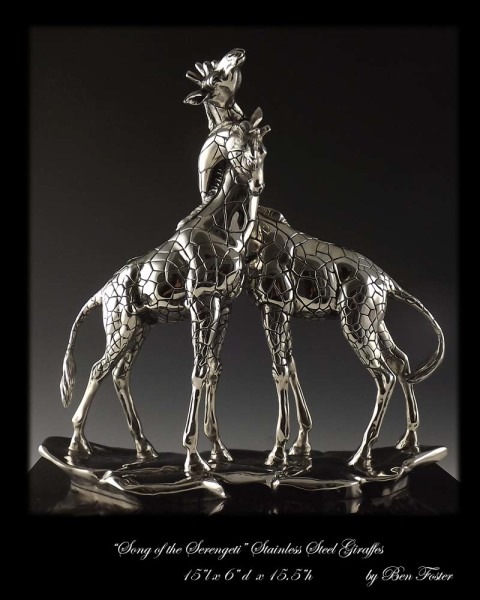 Stainless Steel, necking giraffes, giraffe sculpture, giraffe