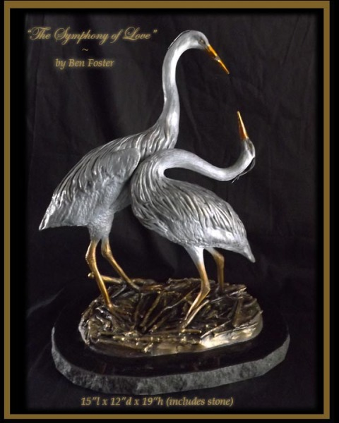 bronze, sculpture, statue, heron, courtship