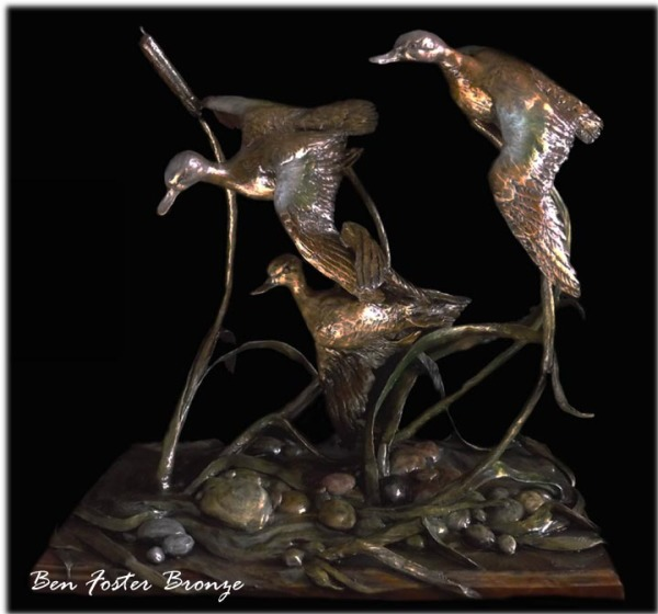 Bronze, Blue-Winged Teal, sculpture