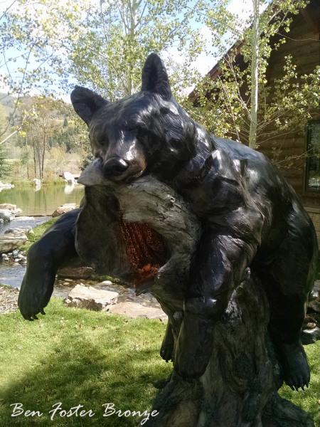 Bronze, Life-Size Black Bear Sow, Sculpture, Outdoor Art