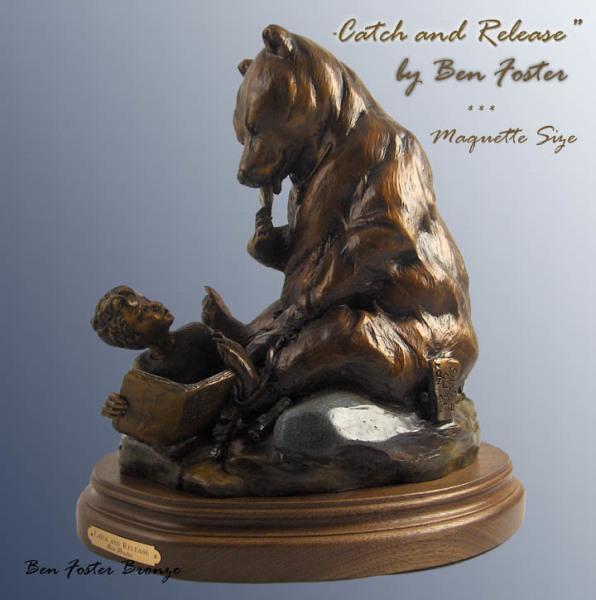 Bronze Grizzly sculpture, whimsical bear sculpture, Ben Foster