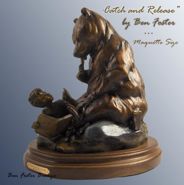 Bronze Grizzly sculpture, whimsical bear sculpture, Ben Foster