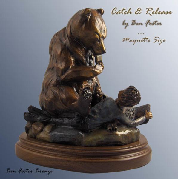Bronze Grizzly sculpture, bear sculpture, whimsical bear, Ben Foster