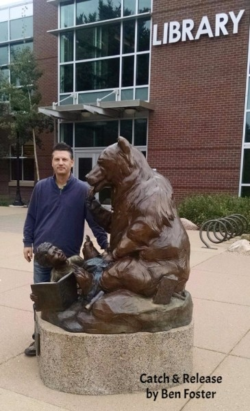 Bronze Library Sculpture, Outdoor Art, Bronze Grizzly, Ben Foster