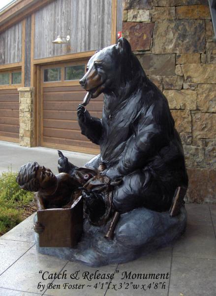 Whimsical art, Bronze Bear, Black Bear Monument, Ben Foster