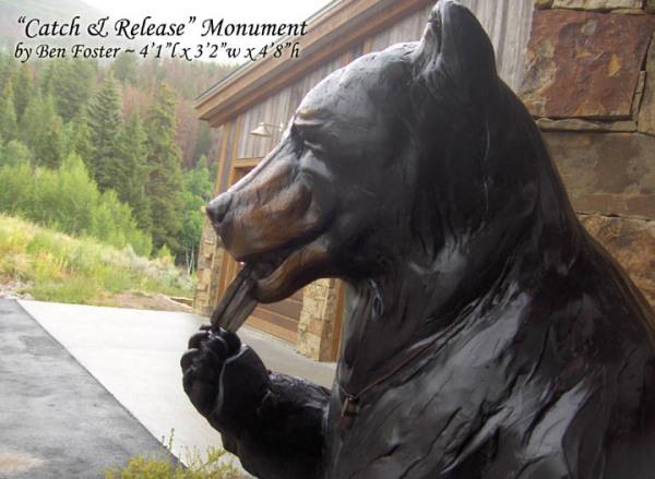 Bronze black bear monument, whimsical sculpture, outdoor sculpture, Ben Foster