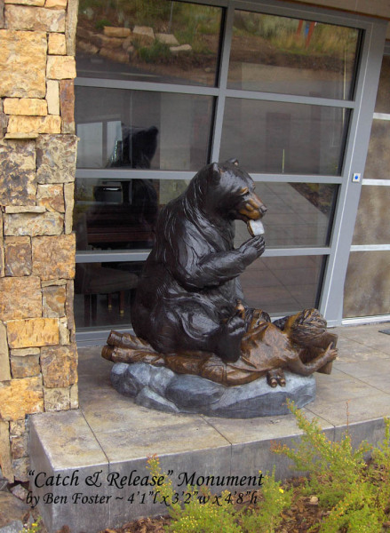 Whimsical sculpture, bronze black bear, Ben Foster