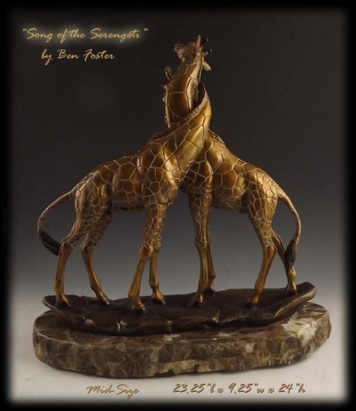 Bronze Giraffes, necking giraffes, bronze safari, Ben Foster, giraffe