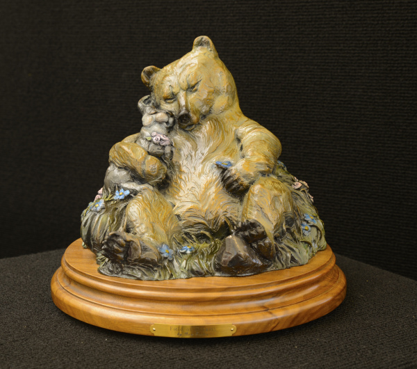 Whimsical bear, cottontail bunny sculpture, desktop sculpture