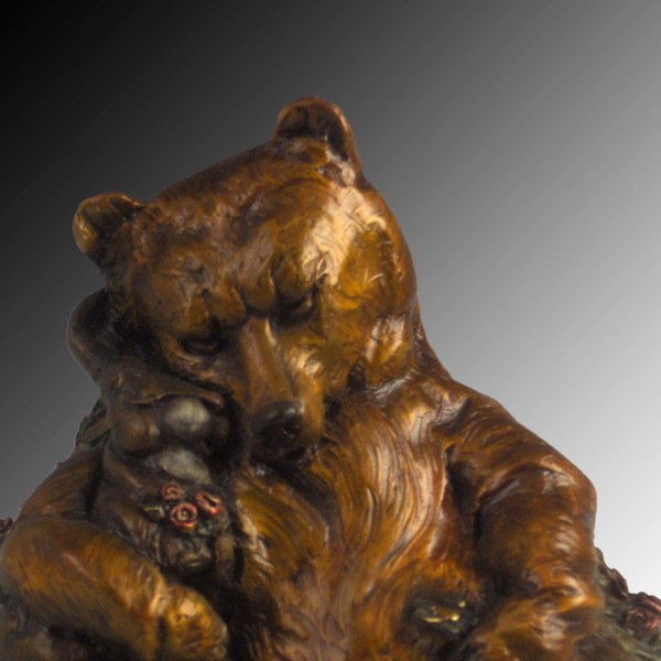 Whimsical bear, bunny, bunny sculpture, bronze sculpture