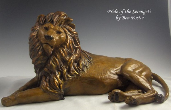 Bronze reclining lion, lion sculpture, lion
