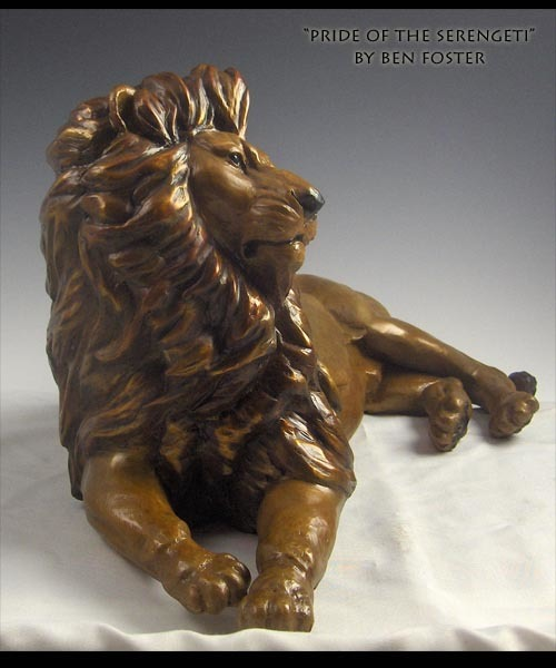 Bronze reclining lion, bronze lion, lion
