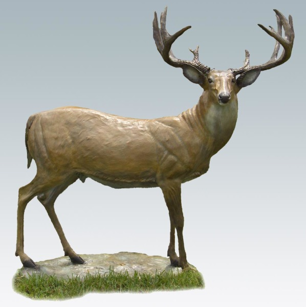 Bronze deer, whitetail deer, deer, outdoor sculpture