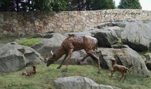 Bronze Deer, Outdoor sculpture, whitetail