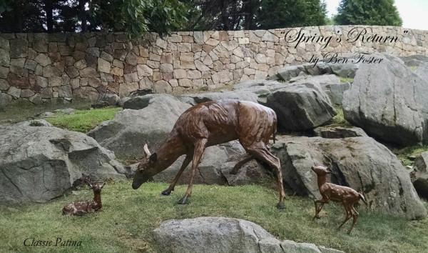 Bronze Deer, Outdoor sculpture, whitetail
