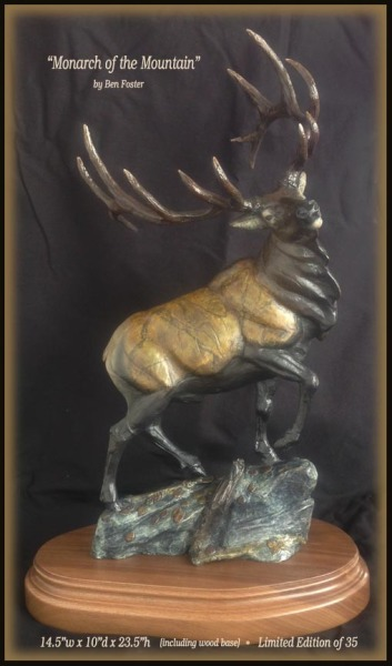 bull elk sculpture, desktop sculpture, bronze elk