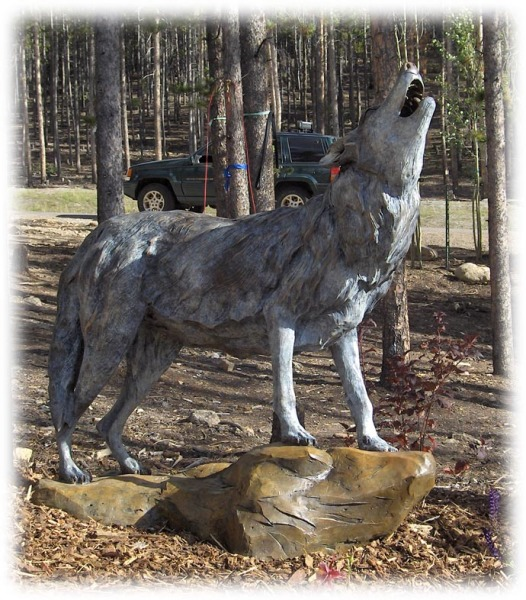 Bronze Wolf, outdoor sculpture