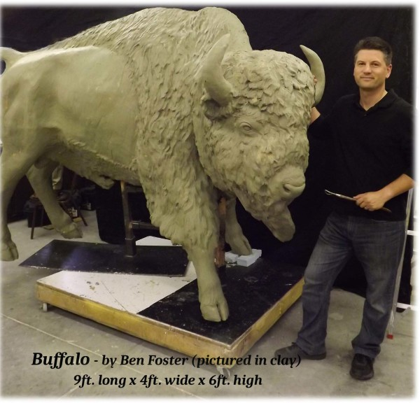 Bison Sculpture, Bison Bronze, outdoor sculpture