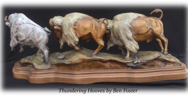 Running Bison Herd, Bronze Buffalo