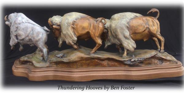 Running Bison Herd, Bronze Buffalo