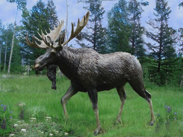 Bronze Moose, Outdoor Sculpture, Moose Monument