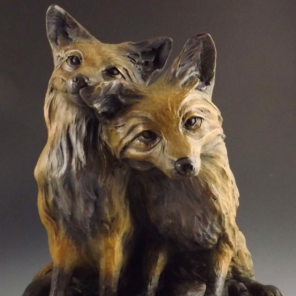 Desktop size, bronze fox pair
