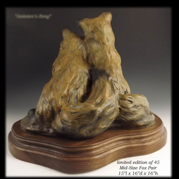 Desktop sculpture, fox pair, bronze fox