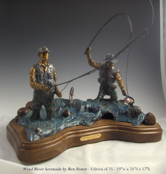 Bronze Fly Fisherman Sculpture