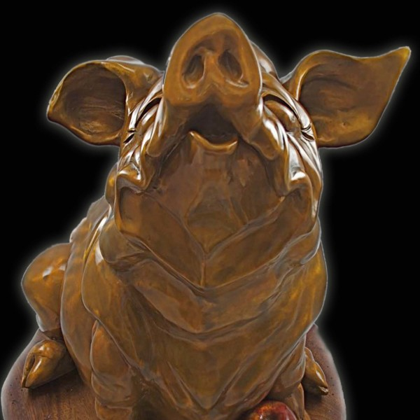 Bronze Pig, Whimsical Sculpture