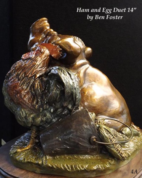 Bronze Pig and Rooster, Whimsical