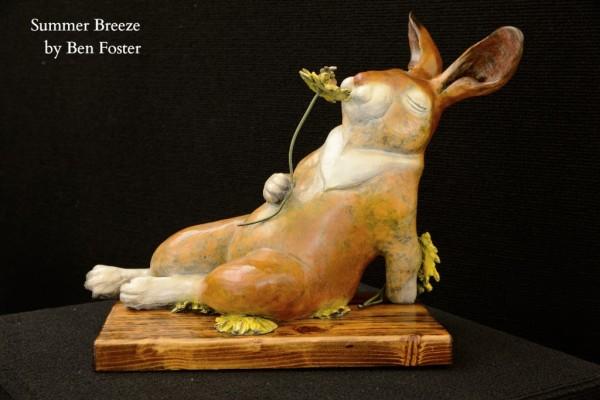 Bronze Bunny, bunny with flowers